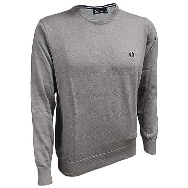 Fred Perry Herren Pullover Rundhals Light Grey Sweatshirt Merino Baumwolle  K3311-506 (XL) bd9020a55b
