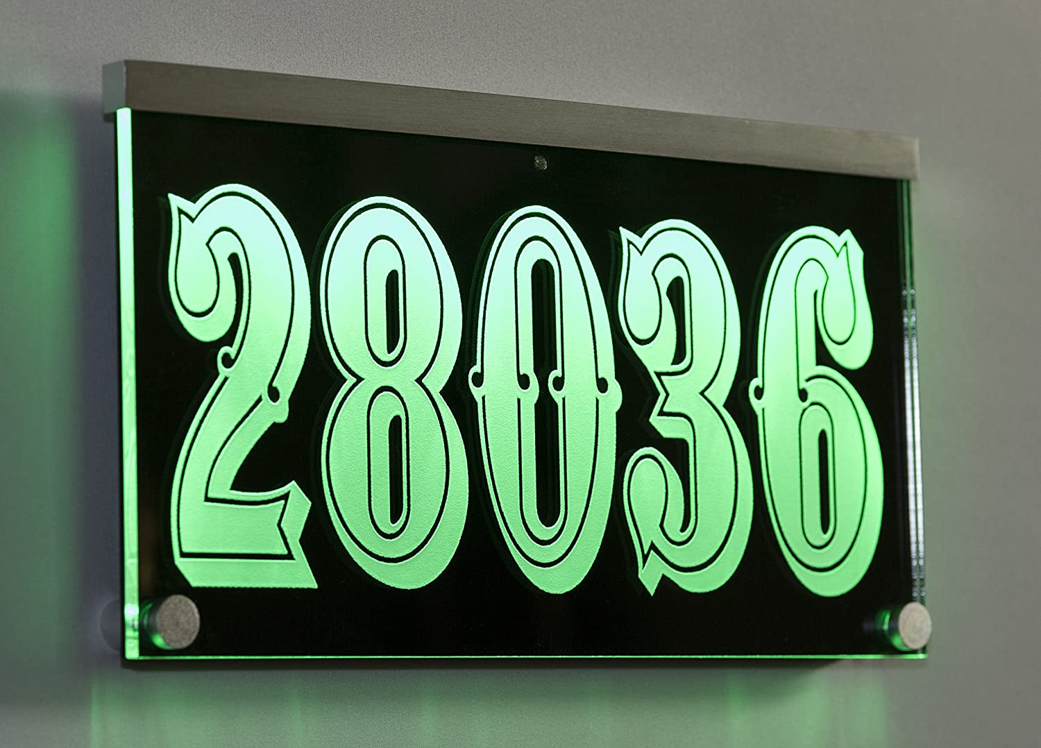 12-16V AC Illuminated Address Sign Plaque House Numbers LED Lighted - Laser Engraved On Acrylic Sign with Remote Control, Auto On/Off Henry Chou