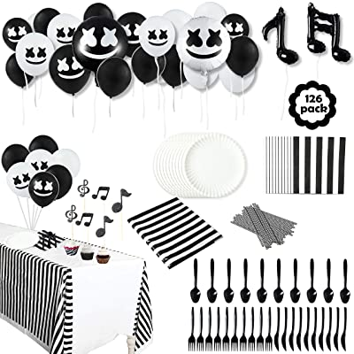 GROBRO7 126Pack Marshmellow Themed Party Supplies DJ Music Decoration Party Favors Marshmellow Tableware Kit Balloons Complete Birthday Decor Favor Plates Tablecloth for Baby Shower Boys Girls Kids: Toys & Games