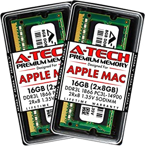A-Tech 16GB (2x8GB) RAM for Late 2015 iMac 27 inch Retina 5K | DDR3L 1866MHz / 1867MHz PC3L-14900 SO-DIMM 204-Pin CL13 1.35V Non-ECC Unbuffered Memory Upgrade Kit