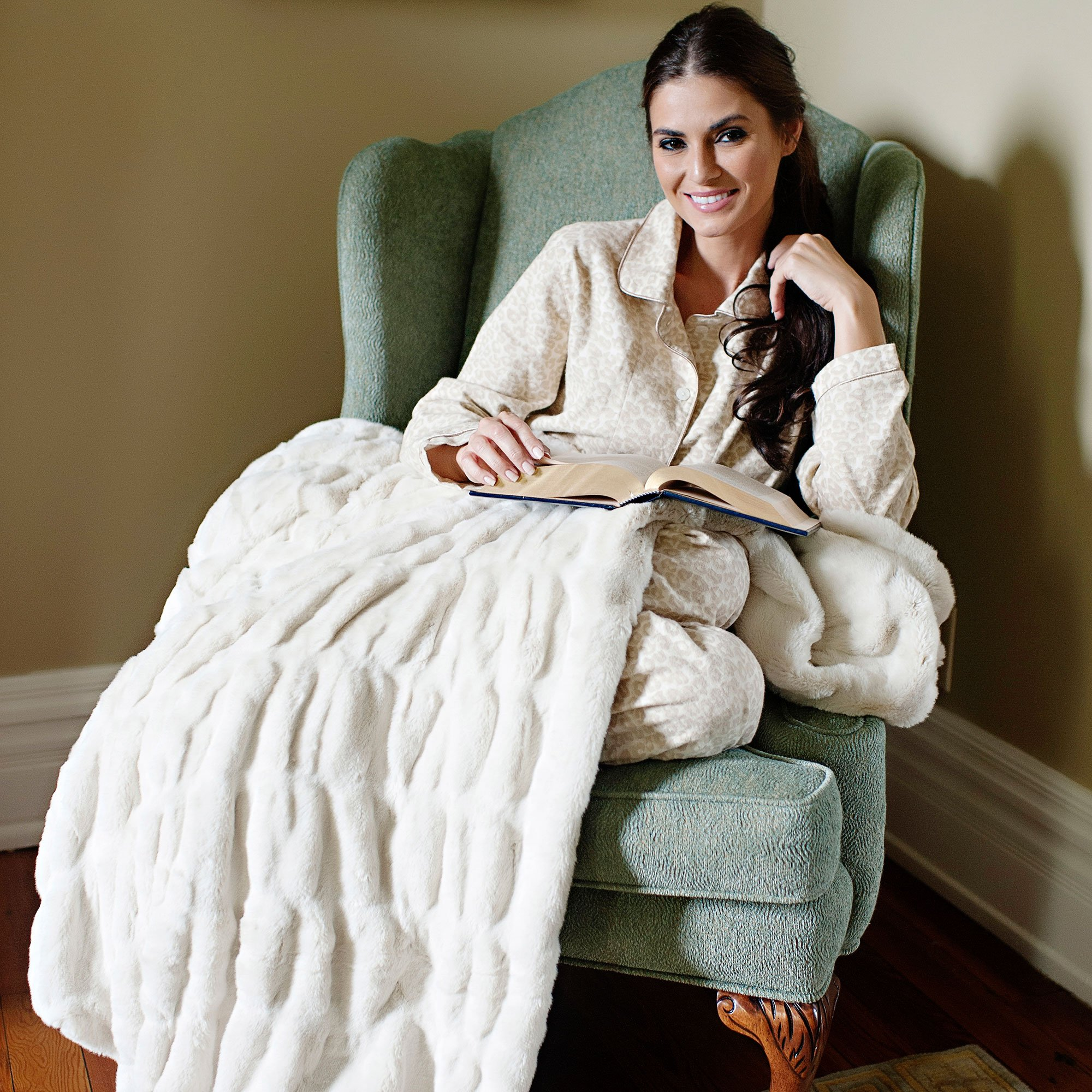 Fabulous Furs: Faux Fur Luxury Throw Blanket, Ivory Mink, Available in generous sizes 60''x60'', 60''x72'' and 60''x86'', by Donna Salyers