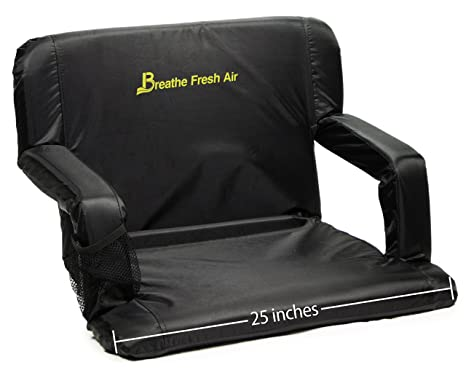 (25u0026quot; Extra Wide Black) Memory Foam Stadium Bleacher Seat U2013 Foam Chair  With