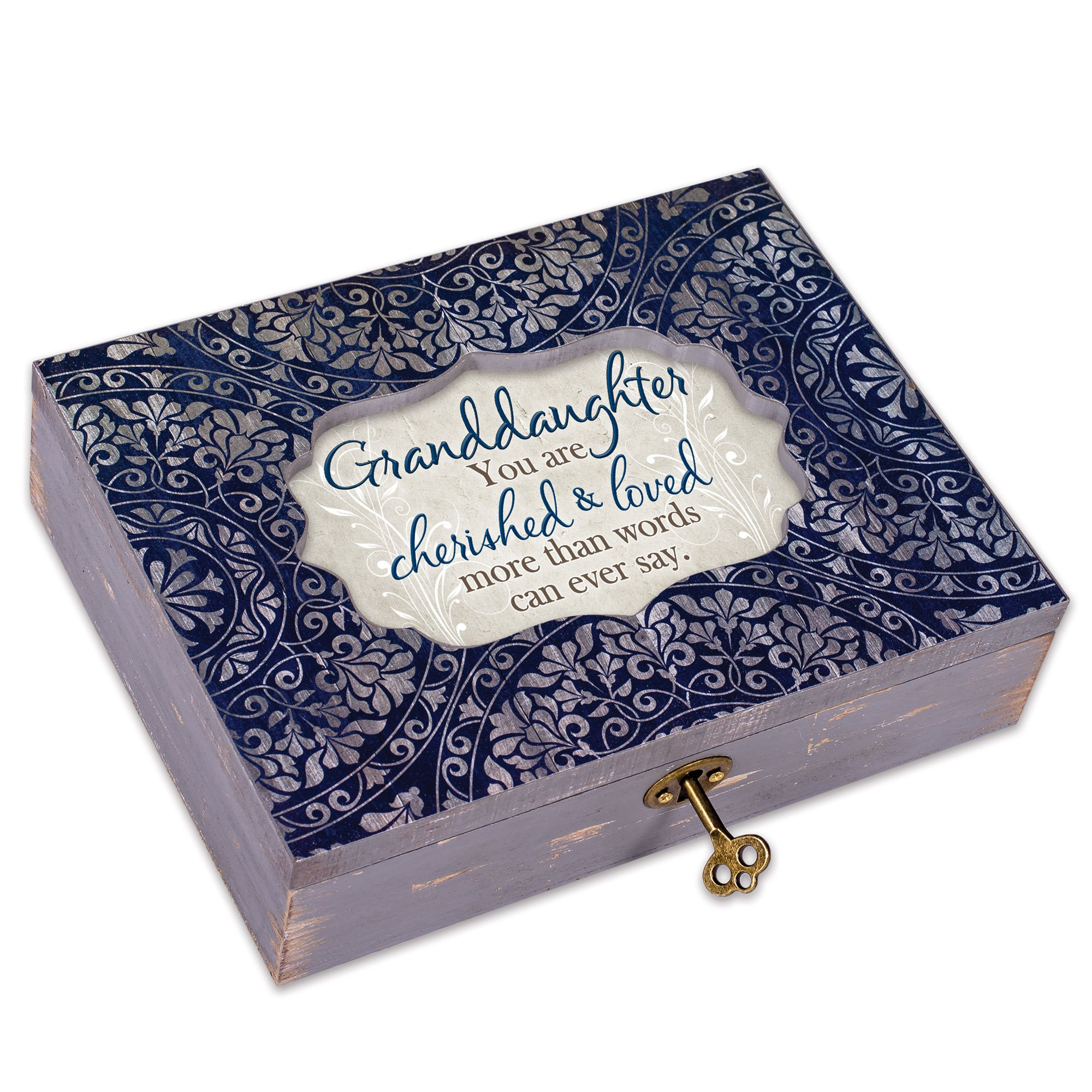 Cottage Garden Every Day I Love You More Denim Decoupage Music Box Plays You Light Up My Life by Cottage Garden