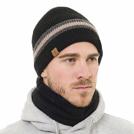 791ae16b1db Beanie Neck Warmer Set with Wool Fleece Fur Scarf Gaitor Skull Cap Knit Hat  Ski (