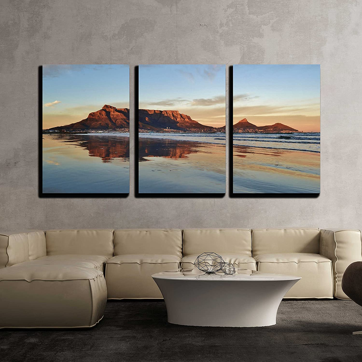 """wall26 - 3 Piece Canvas Wall Art - Landscape of Cape Town and Table Mountain at Sunrise - Modern Home Decor Stretched and Framed Ready to Hang - 24""""x36""""x3 Panels"""