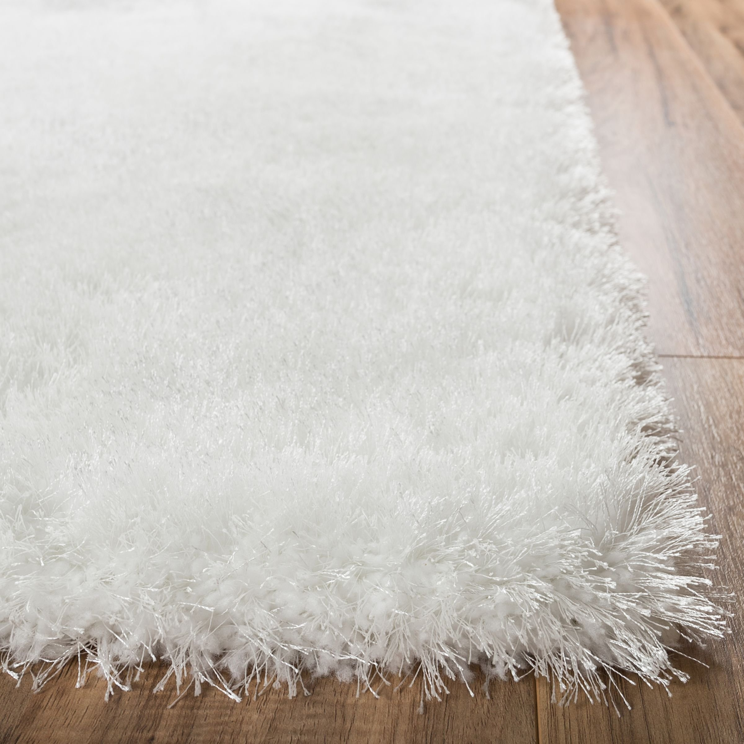 Shimmer Shag Snow White Solid Plain Modern Luster Ultra Thick Soft Plush Area Rug 7 x 10 ( 6'7'' x 9'10'' ) Contemporary Retro Polyester Textured 2'' Pile Yarn Easy Clean Stain Fade Resistant by Well Woven (Image #2)