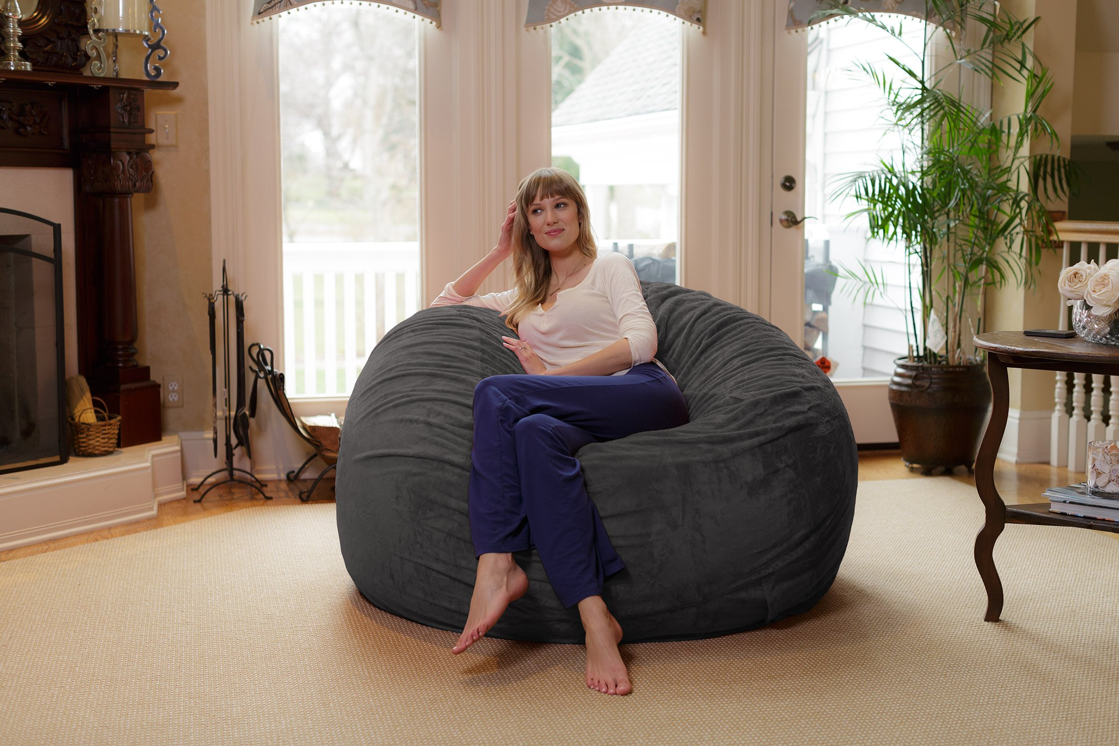Chill Sack Bean Bag Chair: Giant 6' Memory Foam Furniture Bean Bag - Big Sofa with Soft Micro Fiber Cover - Grey Furry by Chill Sack (Image #4)