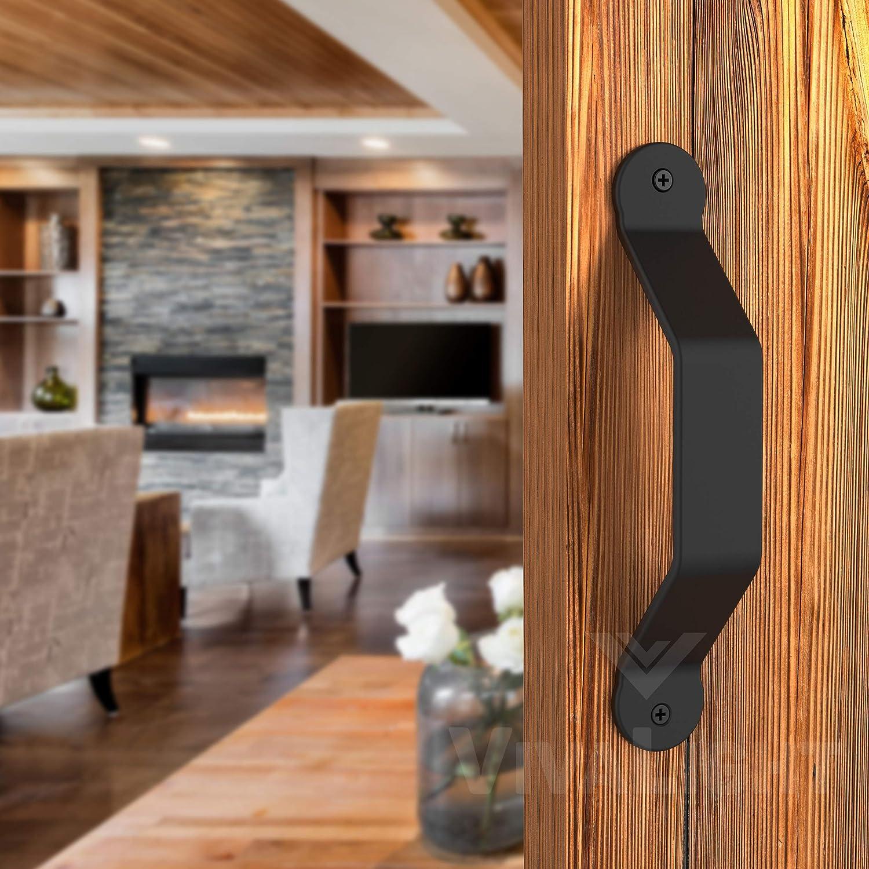 Barn Door Handle Black 8 inch Solid Steel Gate Handle Pull for Sliding Barn Doors Gates Garages Sheds