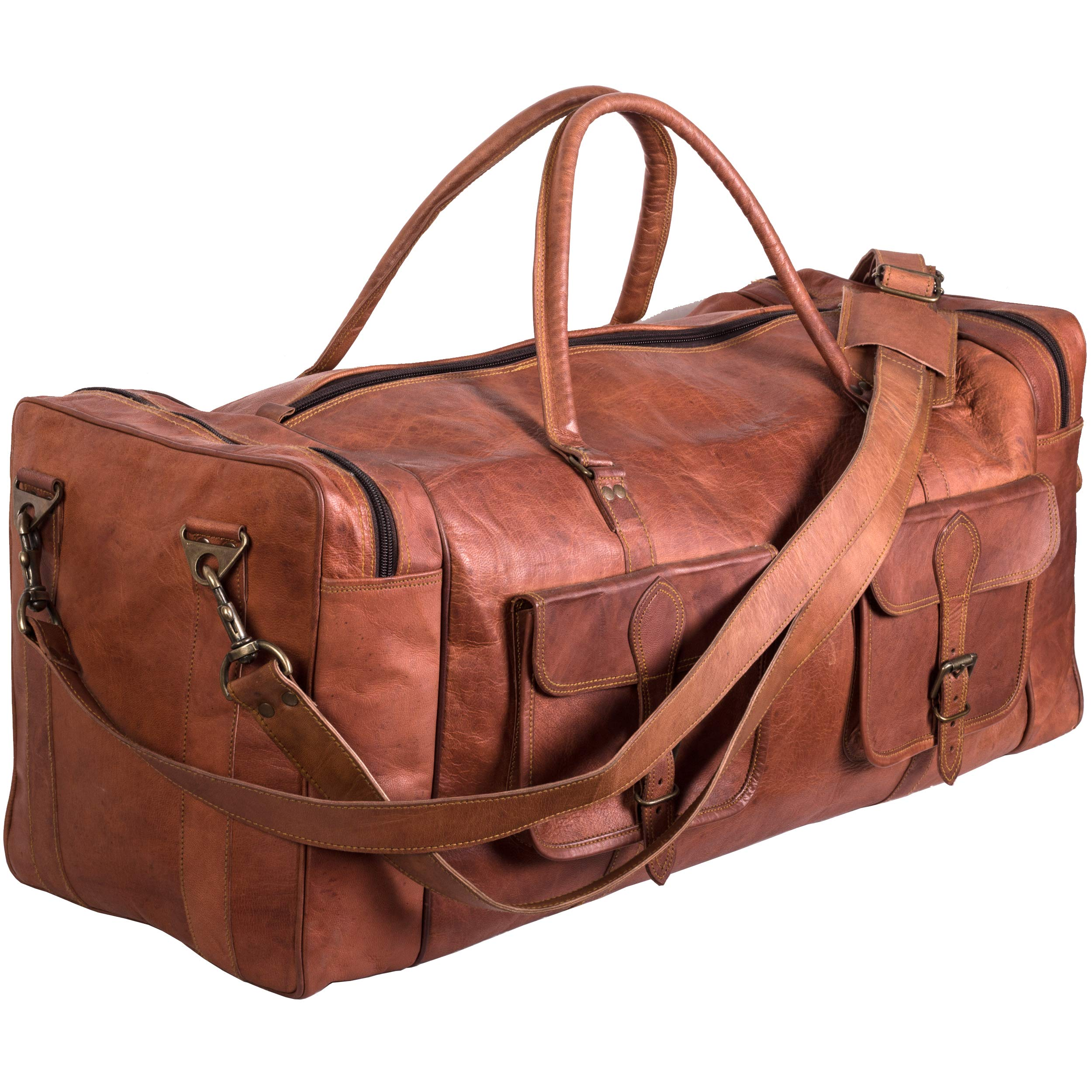 Leather Duffel Bag 30 inch Large Travel Bag Gym Sports Overnight Weekender Bag by Komal s Passion Leather (30 inch)