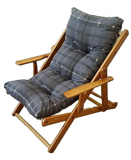 Cuscini Per Sdraio In Legno.Poltrona Sdraio Relax 3 Posizioni In Legno Pieghevole Cuscino Imbottito H 100 Colore Grigio Scuro