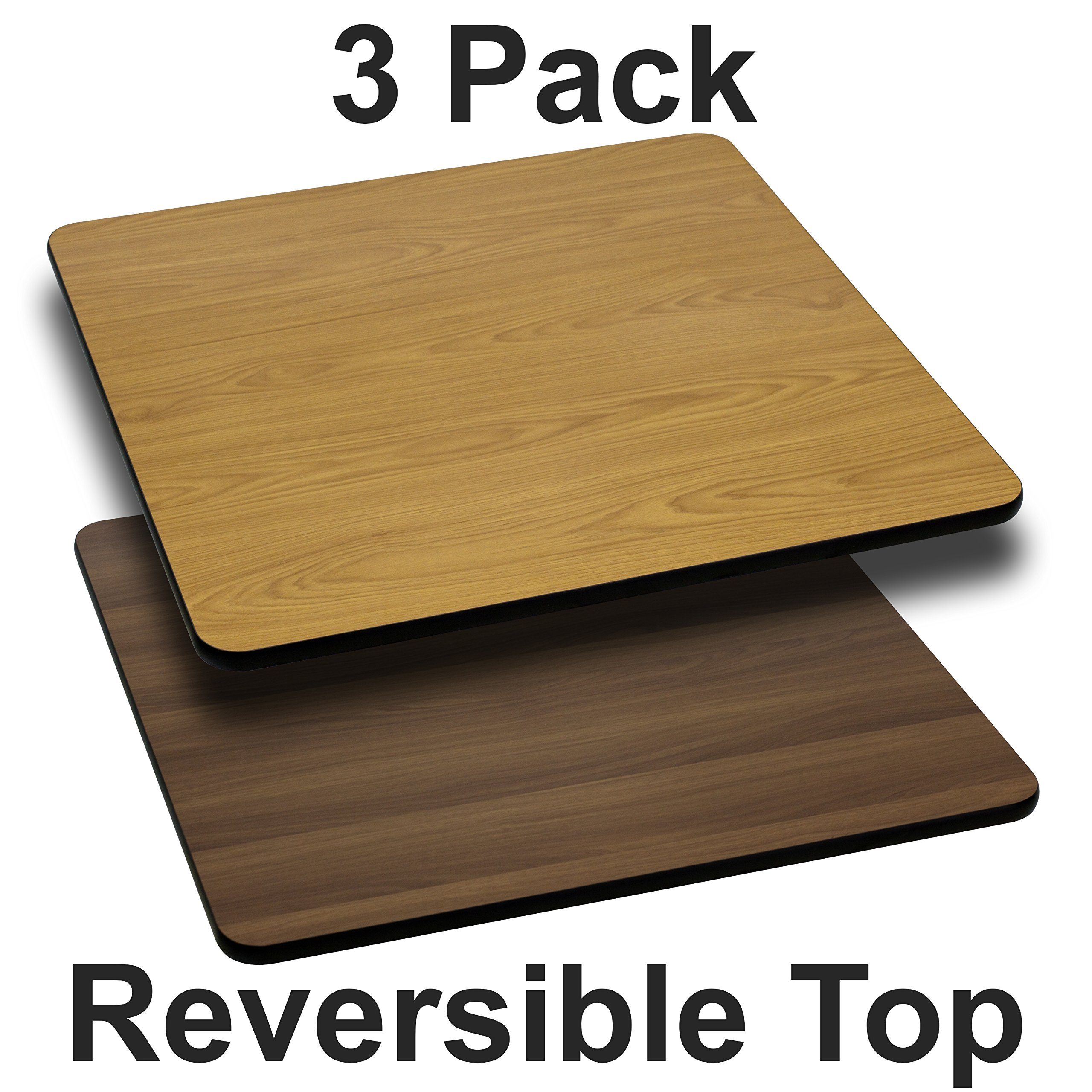 Flash Furniture 3-XU-WNT-3030-GG 30SQ NA/WA Reversible Laminate Tops, 3 Pack, Natural/Walnut
