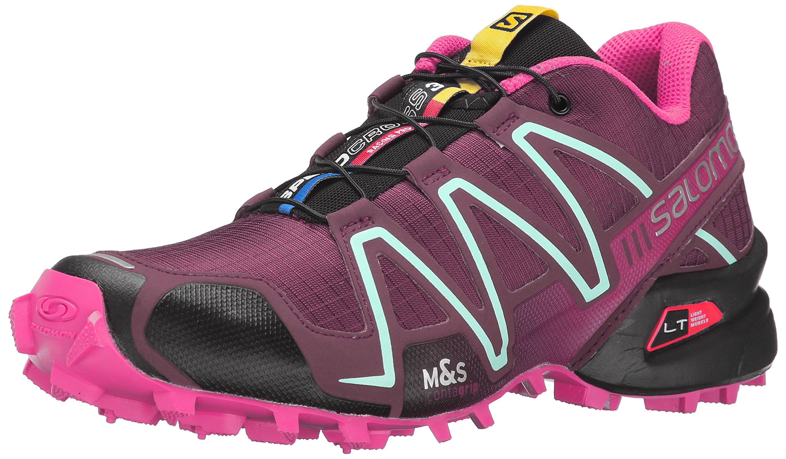 Salomon Women's Speedcross 3 W Trail Running Shoe, Bordeaux/Hot Pink/Lotus Pink, 8.5 B US
