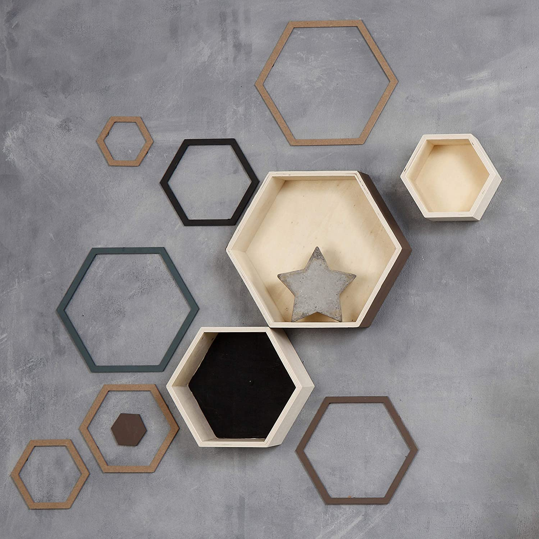 14,8+19+24,2 cm hexagonal Cajas para almacenaje madera contrachapada profundidad 10 cm A 3ud