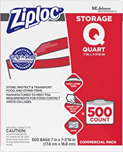 Ziploc Professional Storage Bags, For Food Organization and Storage, Double Zipper, Quart, 500 Count, Clear
