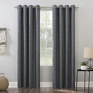 "Sun Zero Brooks Burlap Weave Thermal Extreme 100% Blackout Grommet Curtain Panel, 52"" x 63"", Navy/Denim Blue"
