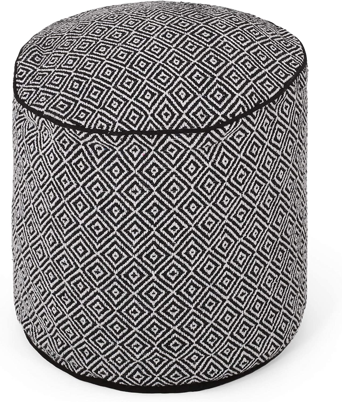 Christopher Knight Home Ashley Boho Fabric Cylinder Pouf, Black, White