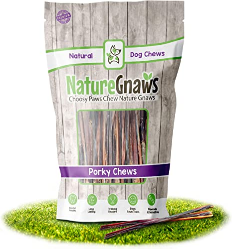 Nature Gnaws Extra Thin Pork Bully Sticks 5-6 – Premium Natural Dog Chews for Small Breeds Light Chewers – Single Ingredient – Simple, Natural, Delicious