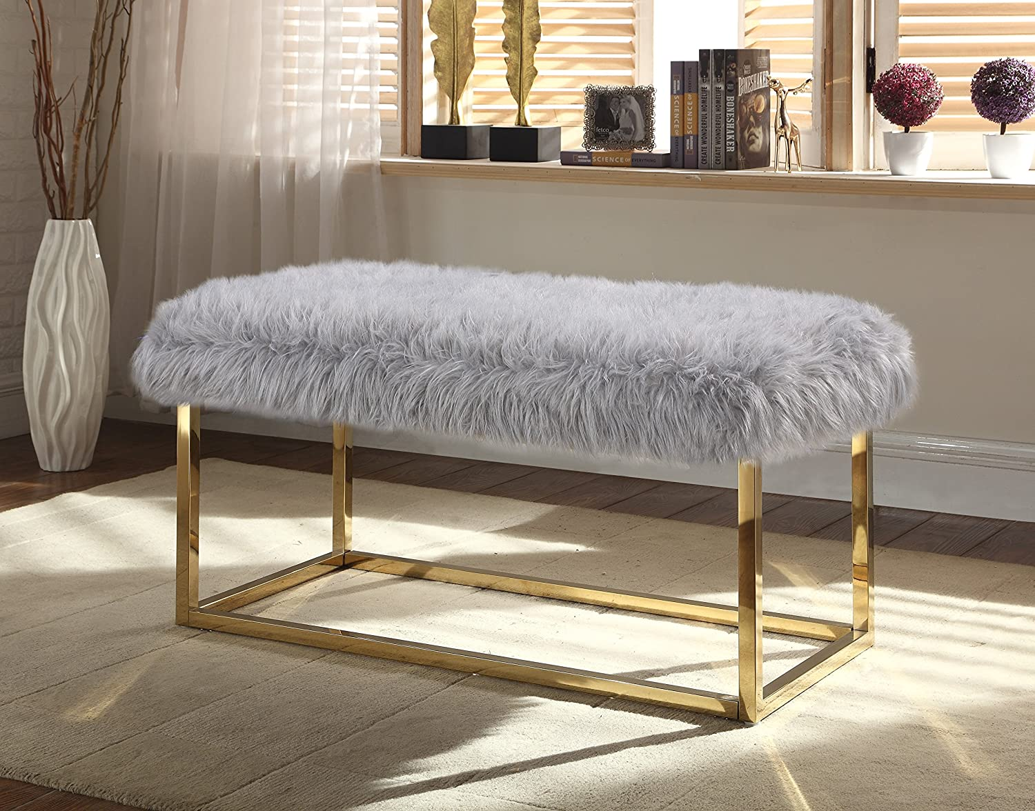 Iconic Home Marilyn Bench Ottoman Faux Fur Brass Finished Stainless Steel Metal Frame, Modern Contemporary, Grey