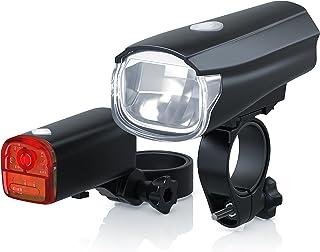 Aplic - Jeu de Feux de vélo à LED | modèle DG320 | Lampes de vélo/feu de vélo/Jeu de Lampes de vélo Plus Feux Avant et Feux arrière | LED Claire (30 Lux) | économique