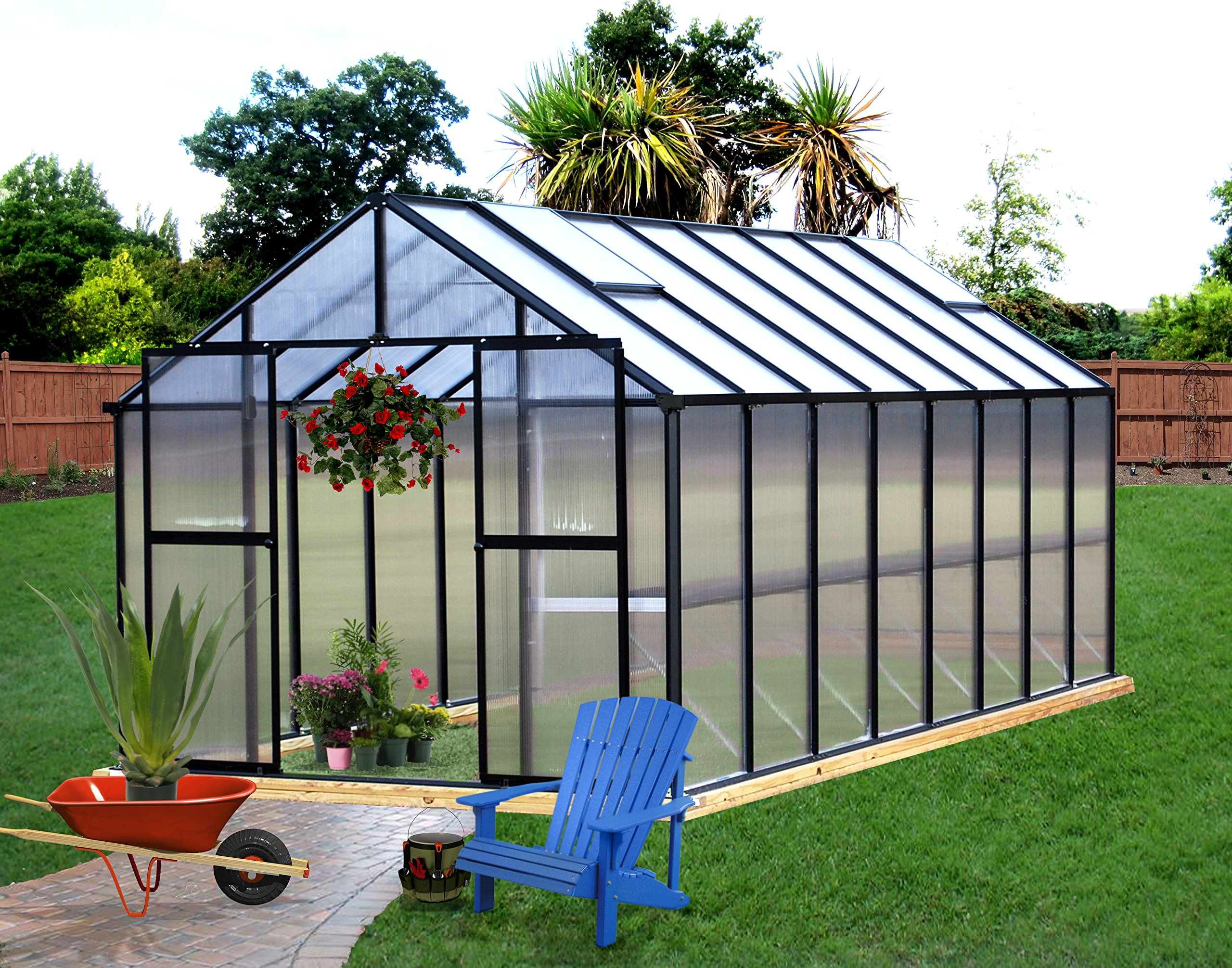 Monticello Greenhouse Premium Package, 8' x 16', Black Finish