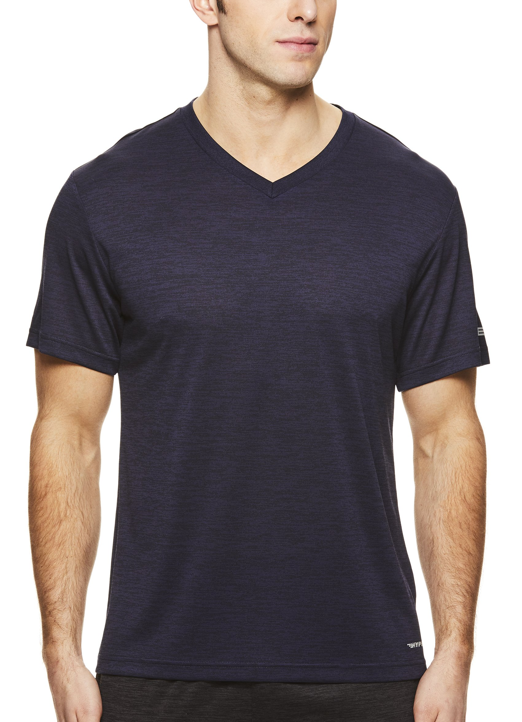 HEAD Men's V Neck Gym Training & Workout T-Shirt - Short Sleeve Activewear Top - Flash Navy Heather Blue, Small