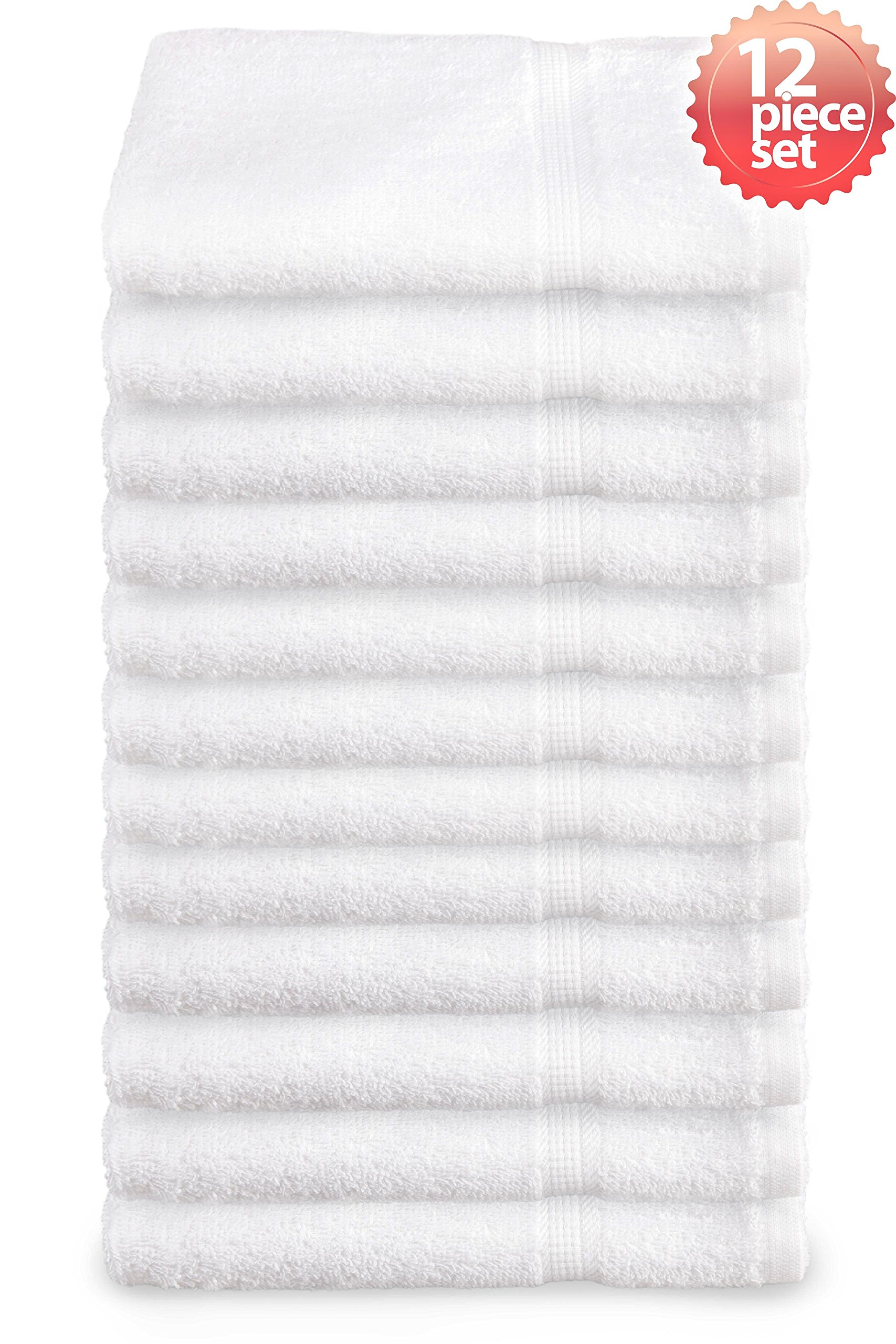 """Everydayspecial Super Absorbent and Soft Spa White Wash Towel with Dobby Border Design 13""""x13"""" (57-grams each) 12 piece"""