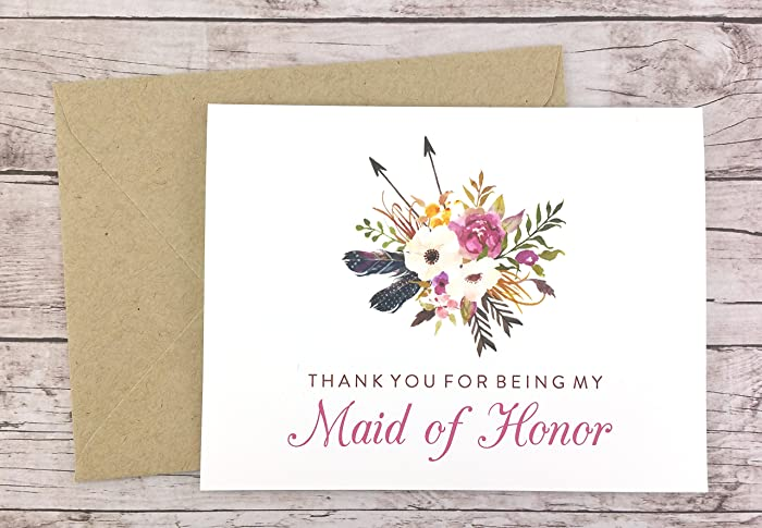 Amazoncom Thank You For Being My Maid Of Honor Card Wedding Card