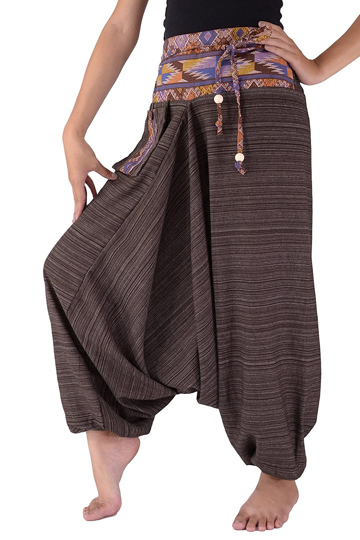Bjelly, tradizionale pantalone harem largo in cotone, unisex. unisex. Black Taglia unica