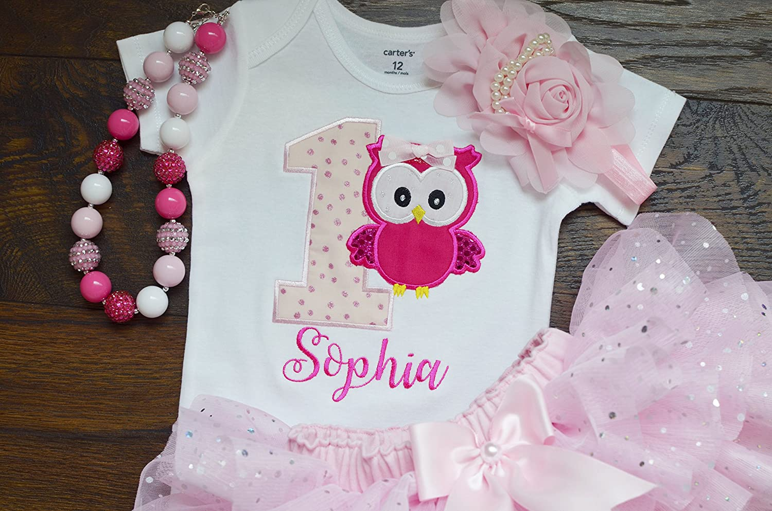 Handmade first birthday outfit for girls,owl birthday outfit,cake smash outfit,one year old girl birthday