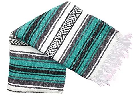 Amazon.com: Authentic Mexican Yoga Blanket - Teal: Home ...