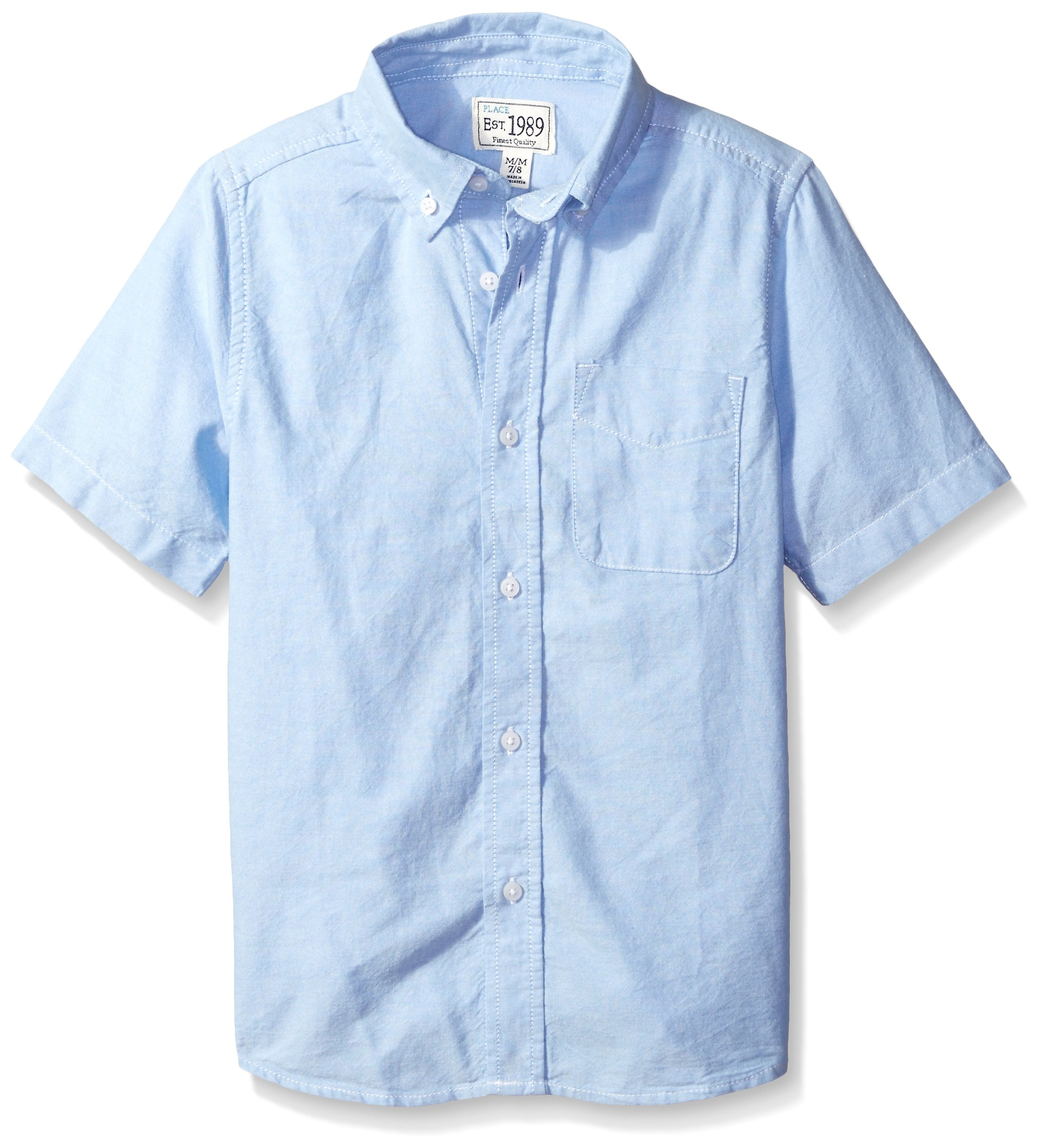 The Children's Place Little Boys' Short Sleeve Uniform Oxford Shirt, Ltbluoxfrd 4765, Small/5/6