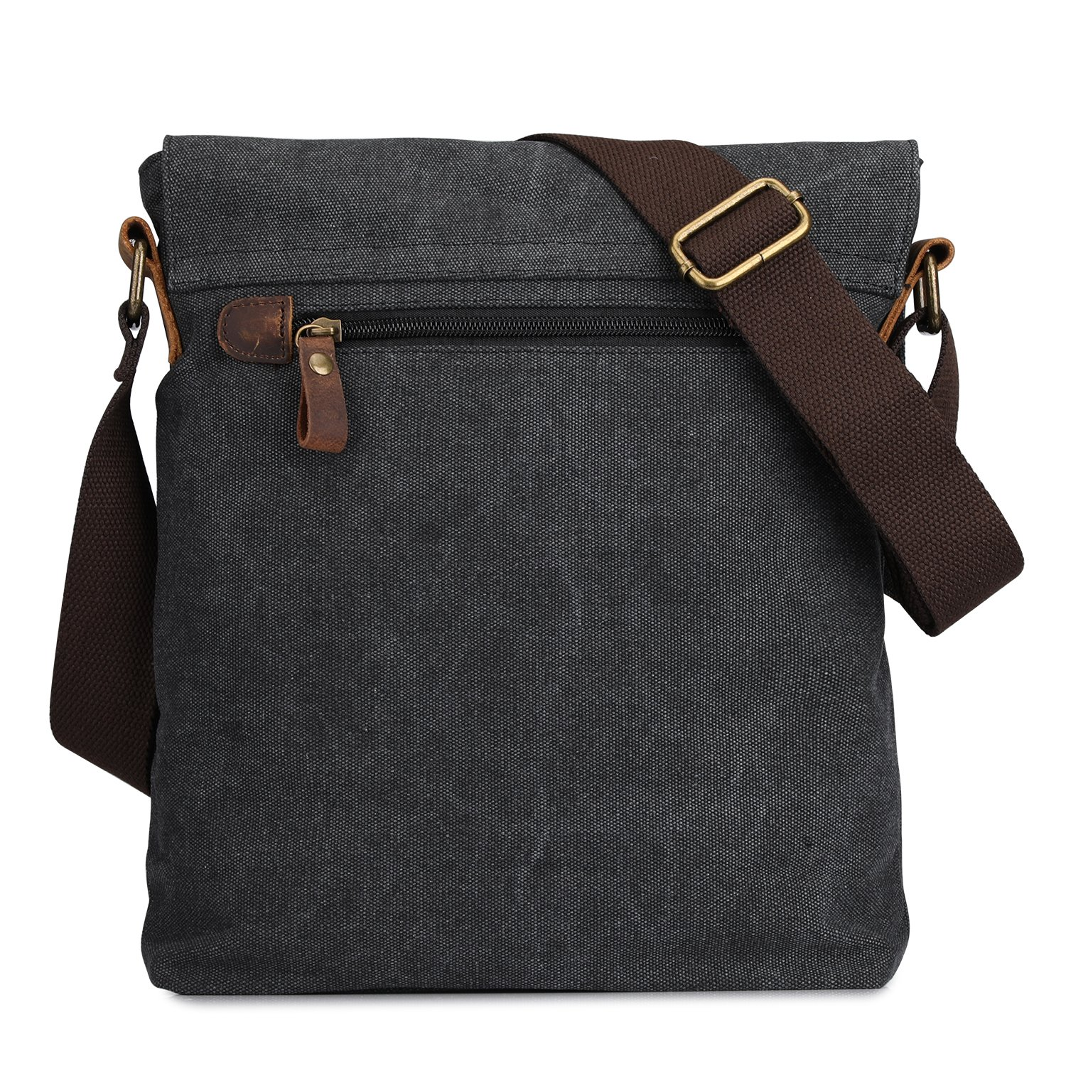 S-ZONE Vintage Lightweight Small Canvas Messenger Bag Travel Shoulder Crossbody Purse Dark (Gray) by S-ZONE (Image #4)