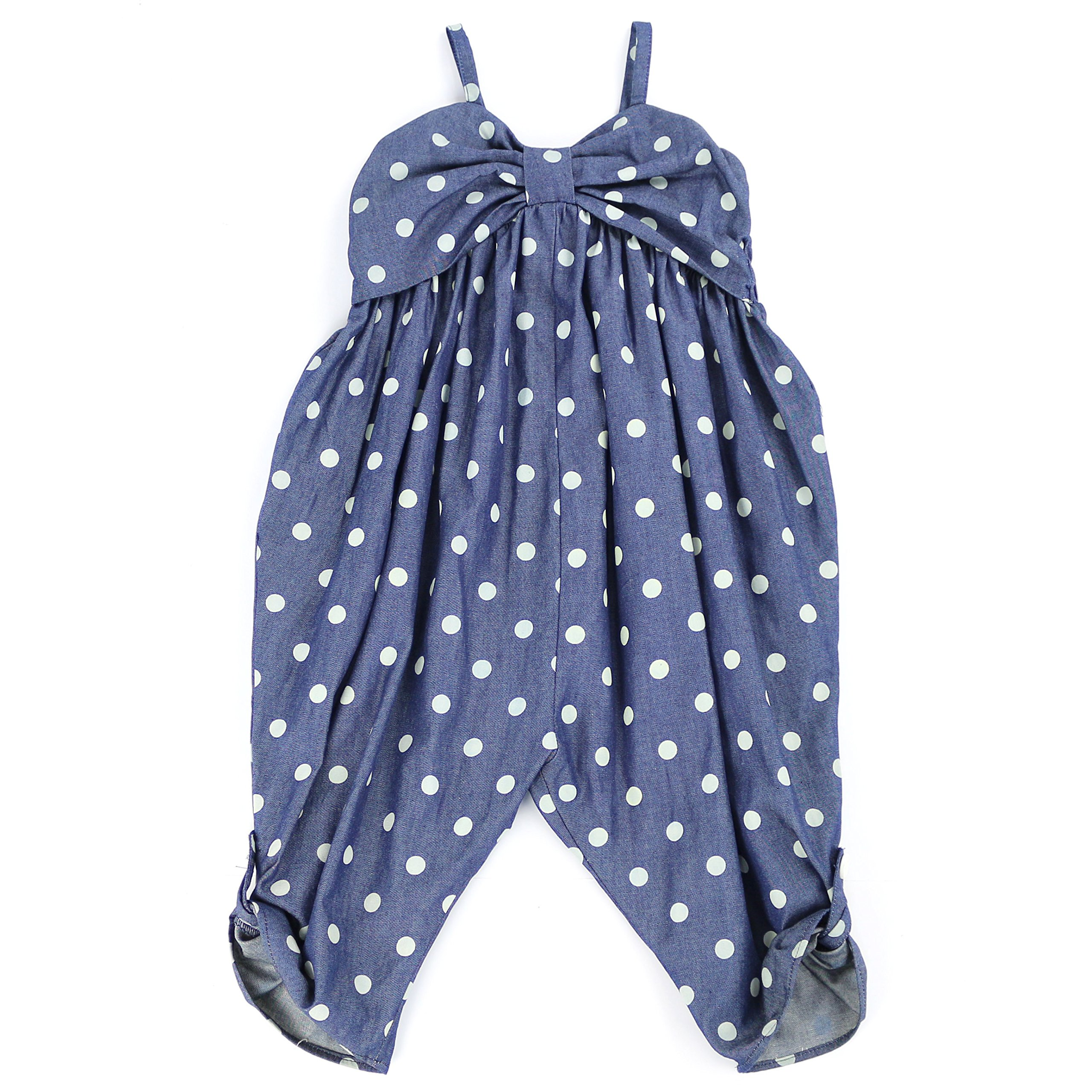 LELEFORKIDS - Toddlers and Girls Happy-Bee Polka Dots Jumpsuit in Denim 2T by LELEFORKIDS