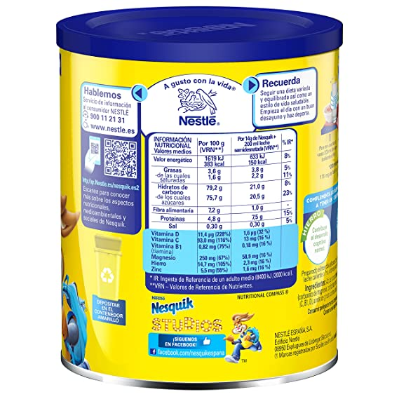 Nestlé - Nesquik - Cacao Instantáneo Soluble, 400 g: Spanky Darth Vaders: Amazon.es: Alimentación y bebidas