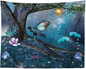 Lunarable Fantasy Tapestry, Enchanted Forest with Blooming Flowers Mystical Environment Woods Illustration, Fabric Wall Hanging Decor for Bedroom Living Room Dorm, 28