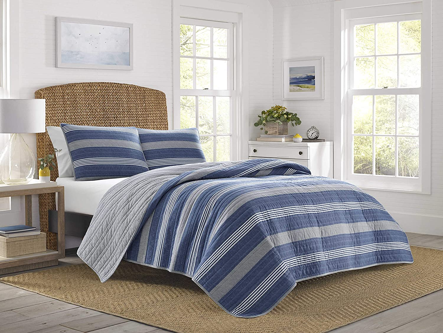 Nautica | Saltmarsh Collection | 100% Cotton Light-Weight Reversible Quilt Bedspread Matching Shams, 3-Piece Bedding Set, Pre-Washed for Softness, Full/Queen, Blue