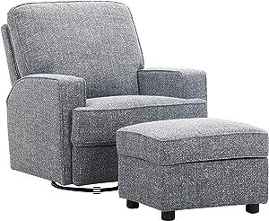 Amazon Brand – Ravenna Home Modern Swivel Chair with Storage Ottoman, 33.9