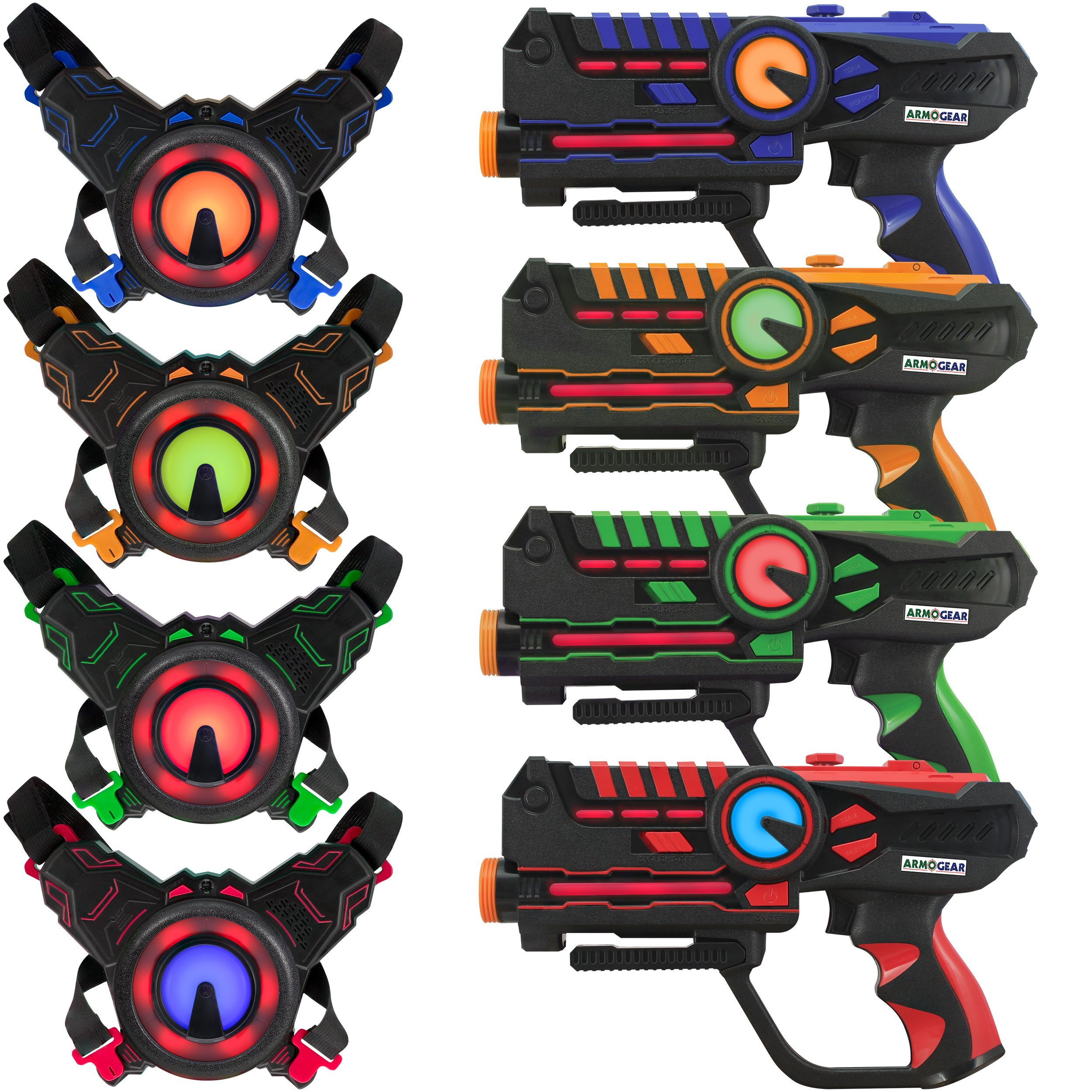 ArmoGear Infrared Laser Tag Guns and Vests - Laser Battle Mega Pack Set of 4 - Infrared 0.9mW (Renewed)