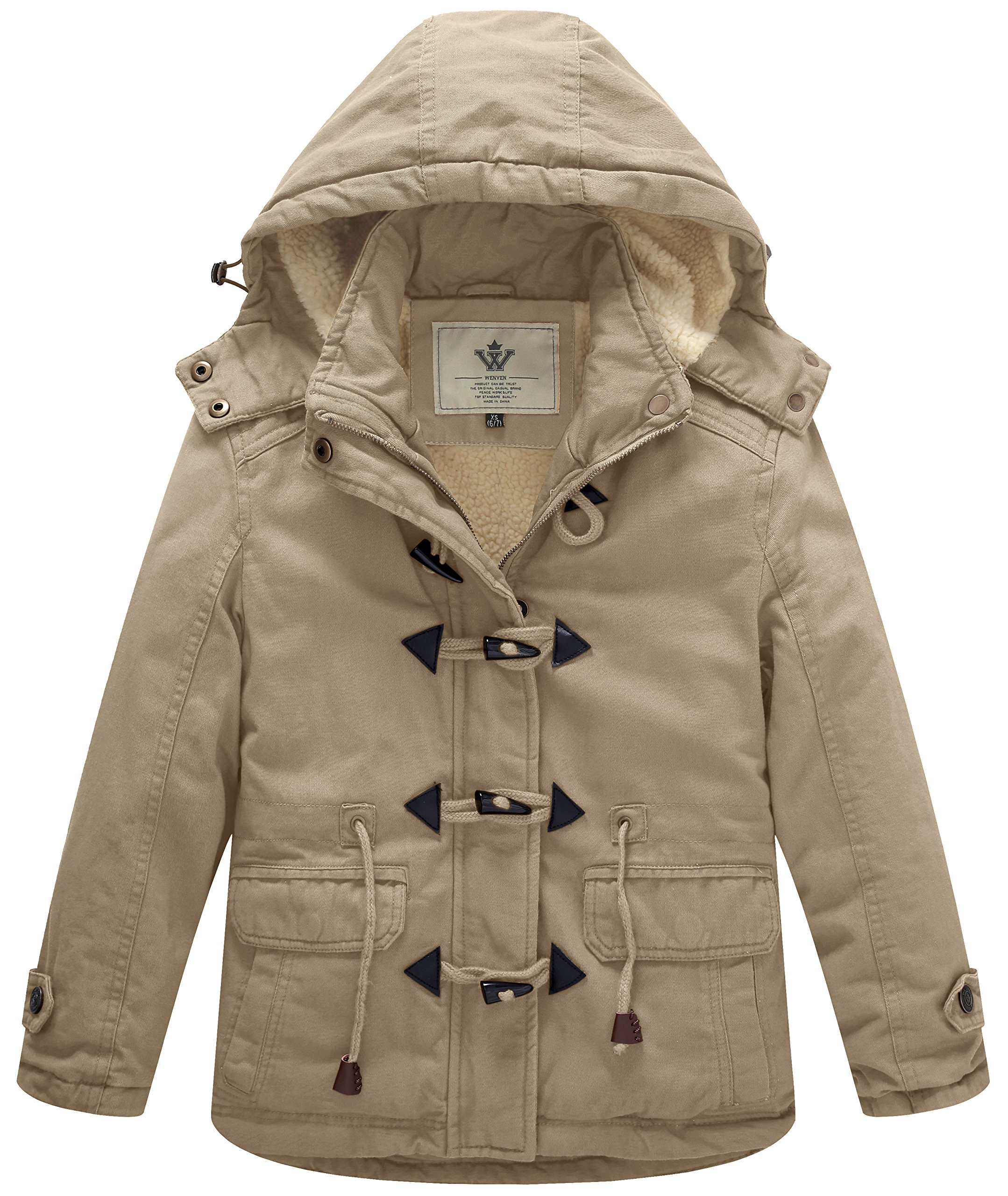 WenVen Girl's Thicken Jacket Cotton Coat with Removable Hood, Khaki, 6-7Y