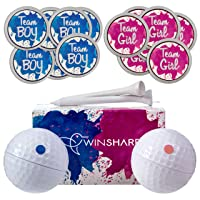 Gender Reveal Golf Balls Exploding Golf Ball Set - 2 Balls - 1 Pink & Blue Plus Golf Tees and 20 Pink and 20 Blue Baby Gender Voting Stickers