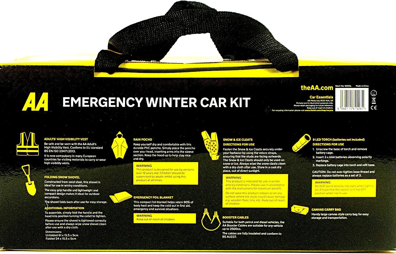 AA Emergency Winter Travel Kit Car Jump Leads Torch Blanket Rain Snow Shove