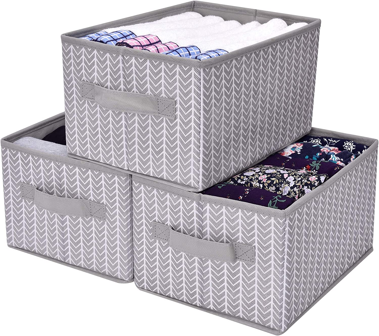 GRANNY SAYS Storage Baskets for Shelves 3-Pack Gray Cloth Organizer Bins with Handles for Home Closet Bedroom Drawers Organizers
