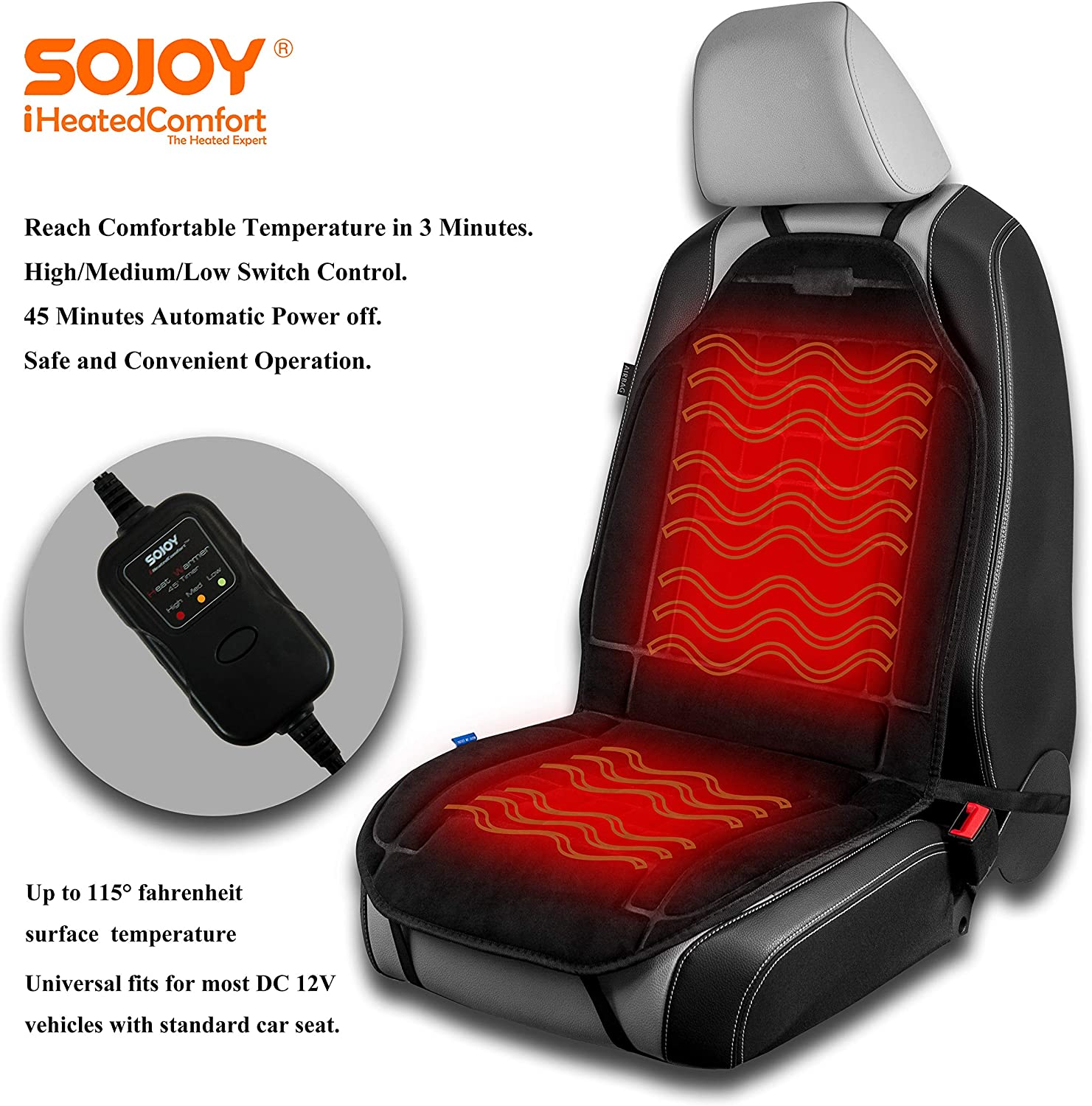 Color Black SJ-227R007 Sojoy Universal 12V Heated Seat Cushion Made with Super Soft Velour Providing a Fast Warming Controller and Equipped with a 45 Minutes Heating Timer for a Safety Operation