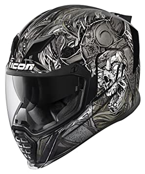Icon Airflite Krom - Casco de moto, color negro y gris