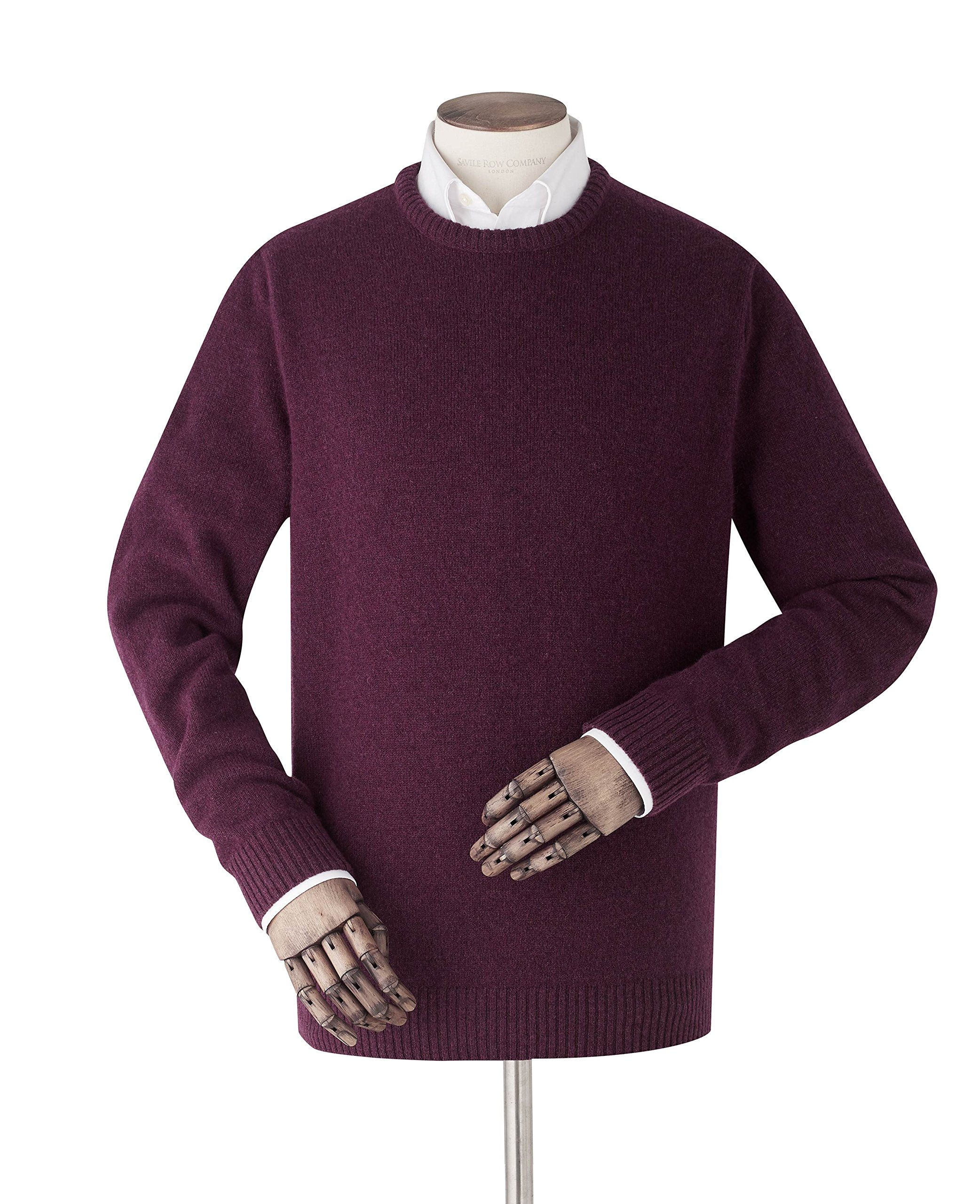 Savile Row Men's Burgundy Lambswool Crew Neck Jumper L
