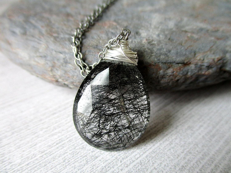 Tourmalinated Quartz, Black Rutilated Quartz Necklace