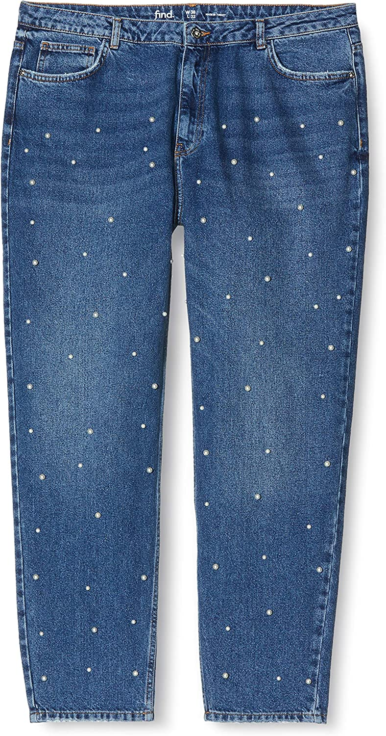 Marchio Jeans Straight con Perle Donna find