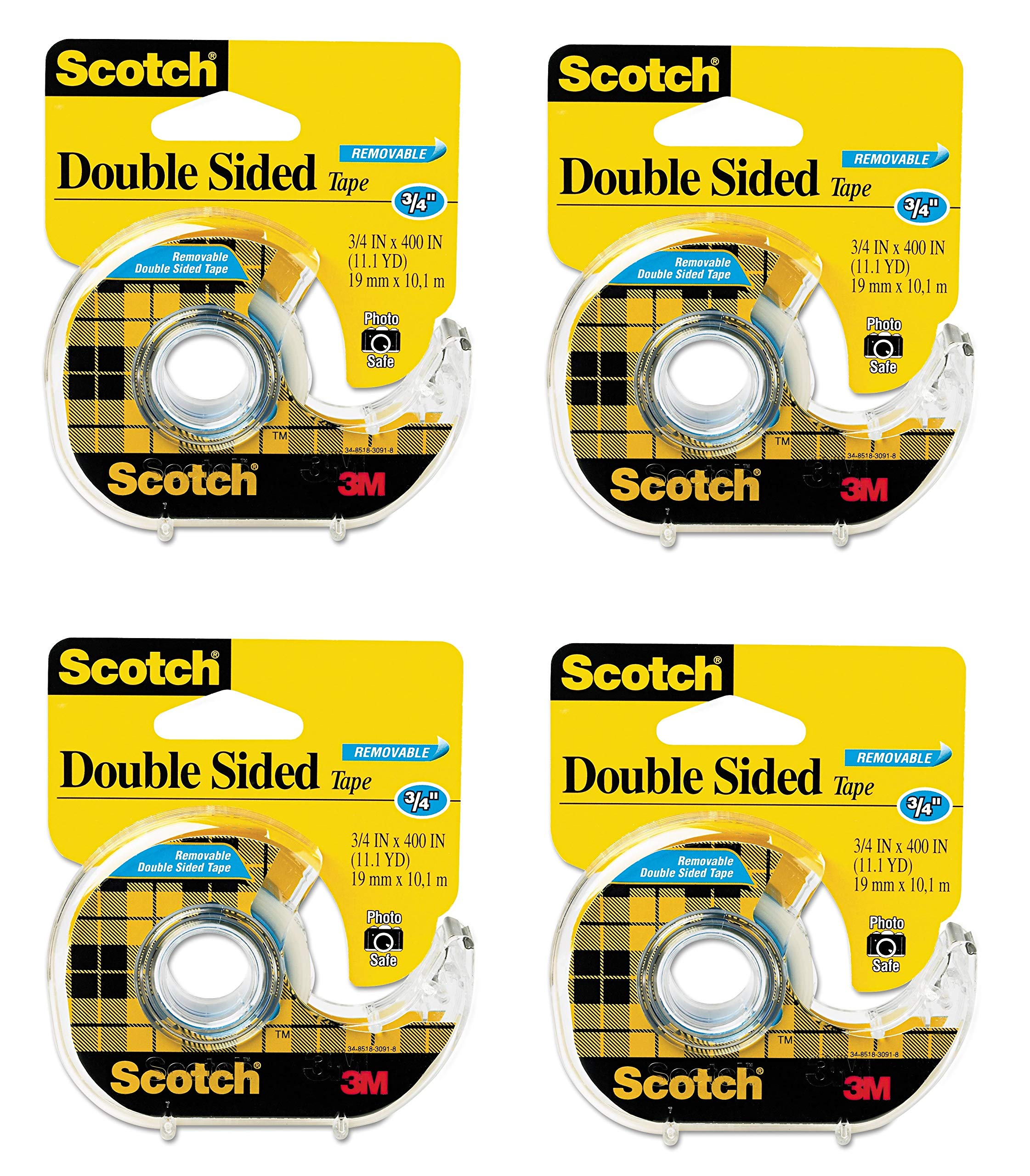 Scotch Double Sided Removable Tape, Long-Lasting, Trusted Favorite, 3/4 x 400 Inches, 4 Dispensered Roll (667) by Scotch Brand