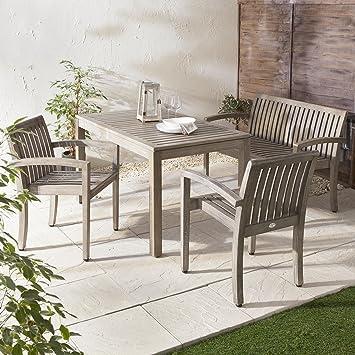 Culcita Porto 5 pièces Jardin terrasse en bois vieilli Banc Table de ...