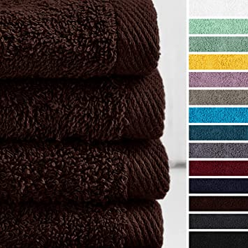 Lumaland Premium Set 4 Toalla de Manos 50 x 100 cm 100% Algodón 500 g/m² con Cinta marrón: Amazon.es: Hogar